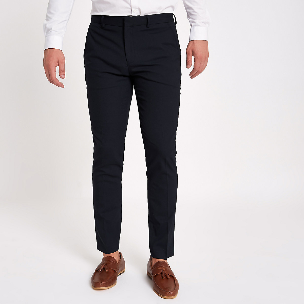 Marineblaue, elegante Skinny Fit Hose
