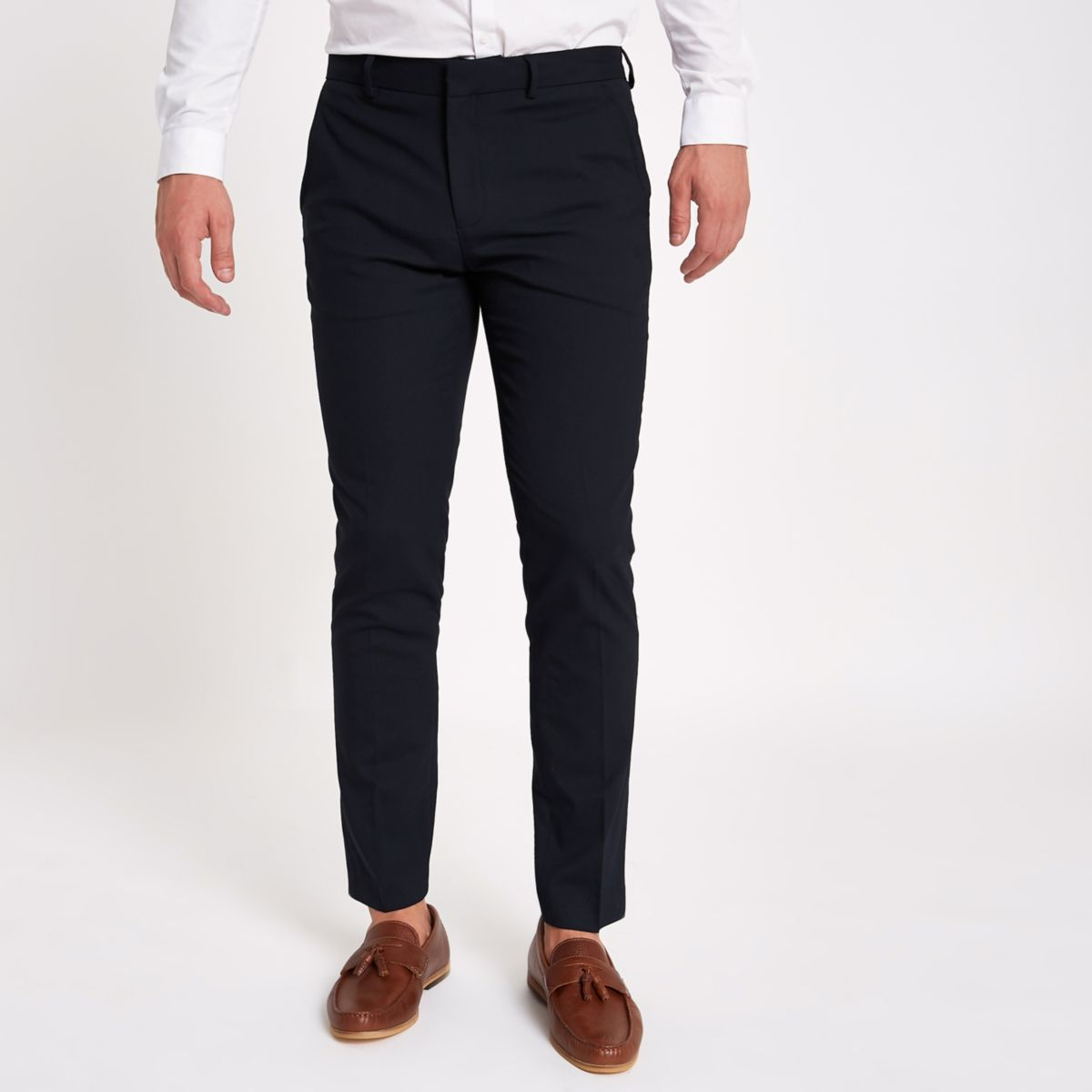 Navy skinny fit smart pants