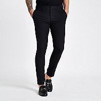 Black ultra skinny smart trousers
