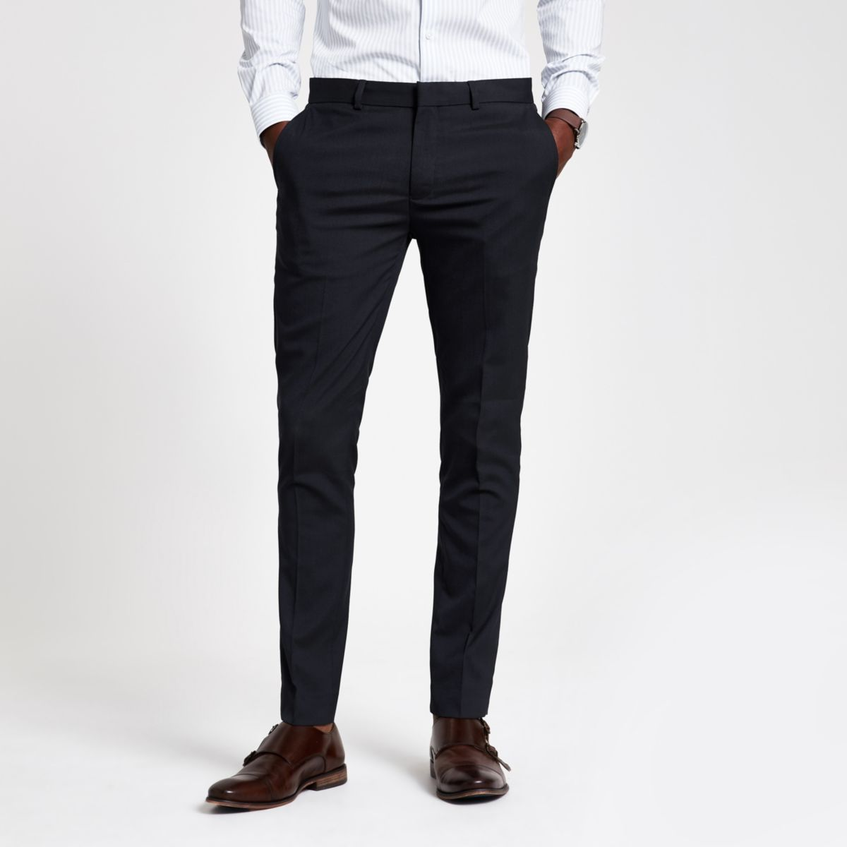 Navy ultra skinny fit smart pants