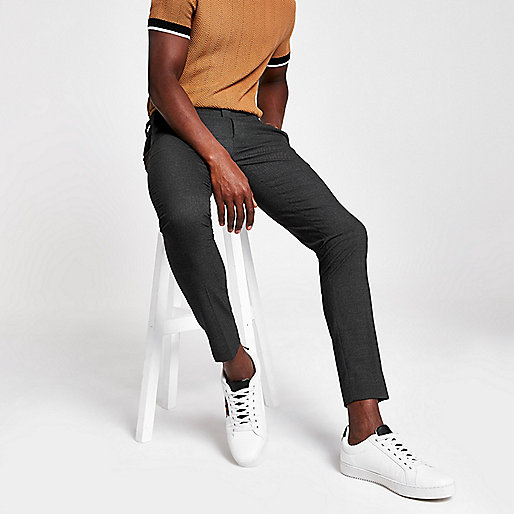 Grey ultra skinny smart trousers