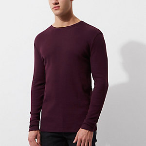 Donkerrood slim-fit T-shirt met lange mouwen