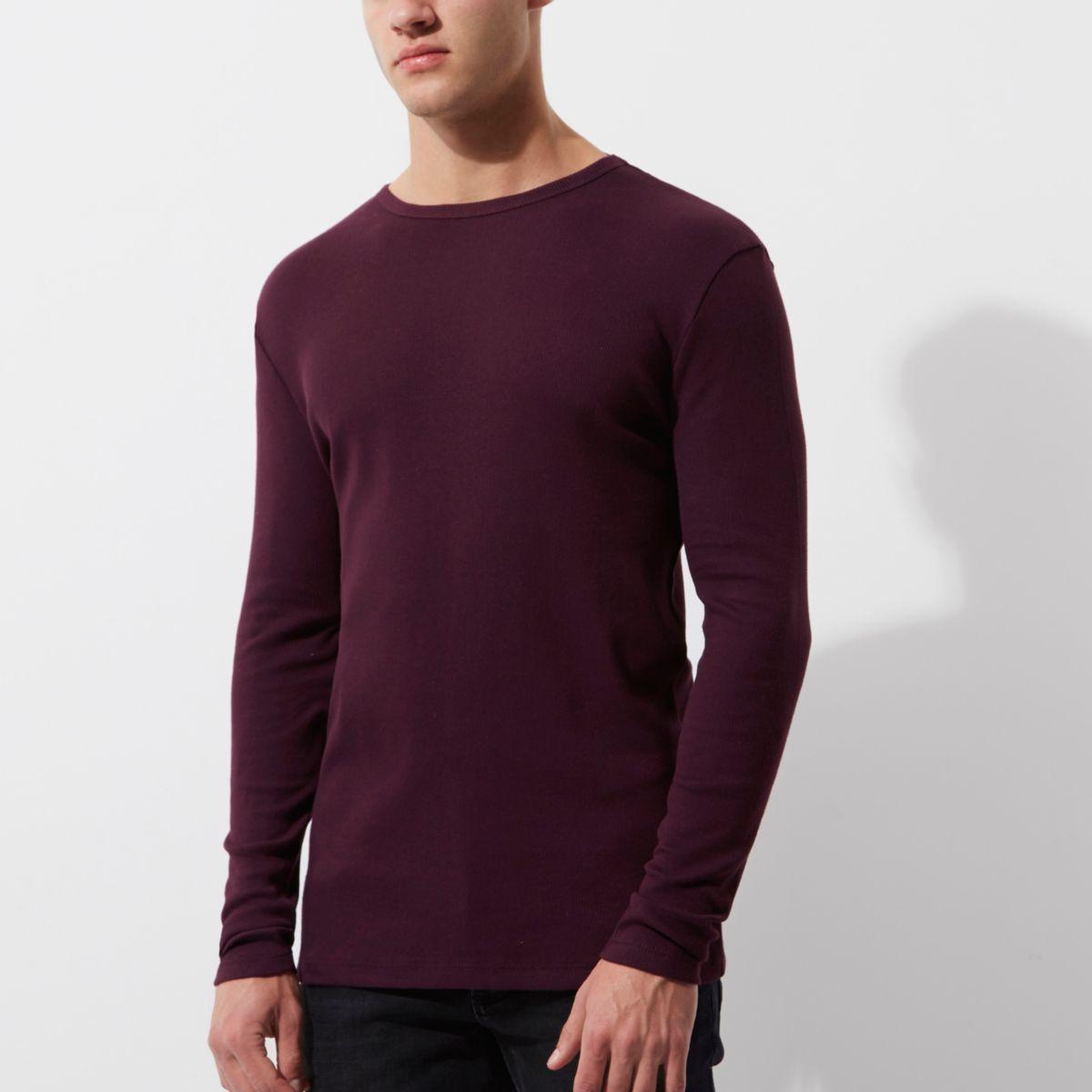 Donkerrood slim-fit T-shirt met lange mouwen