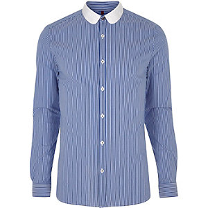 Blue stripe contrast penny collar shirt