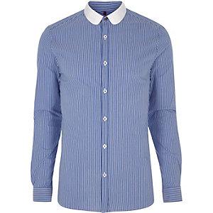 Blue stripe contrast penny collar shirt
