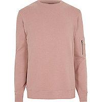 Pink zip sleeve crew neck sweatshirt