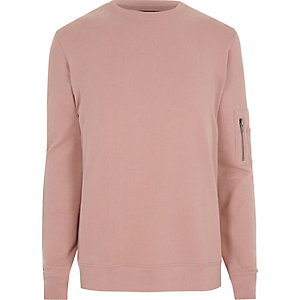 Pink zip sleeve crew neck sweatshirt