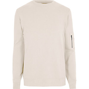 Cream zip sleeve crew neck sweatshirt