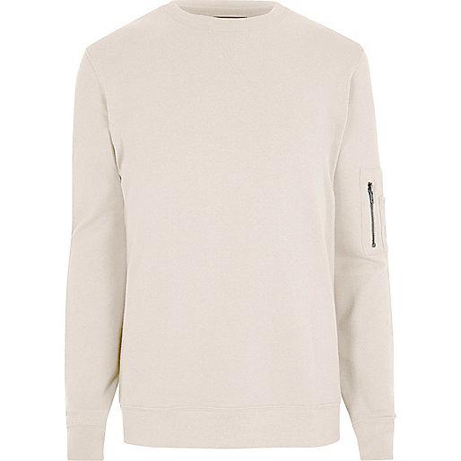 Cream zip sleeve crew neck sweatshirt