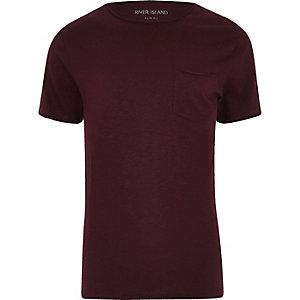 Big & Tall – Dunkelrotes Slim Fit T-Shirt mit Tasche