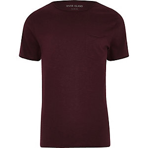 RI Big and Tall - Donkerrood slim-fit T-shirt met zakje