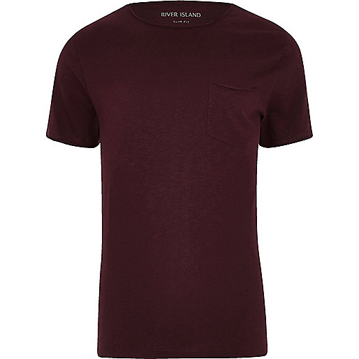 Big and Tall dark red slim fit pocket T-shirt