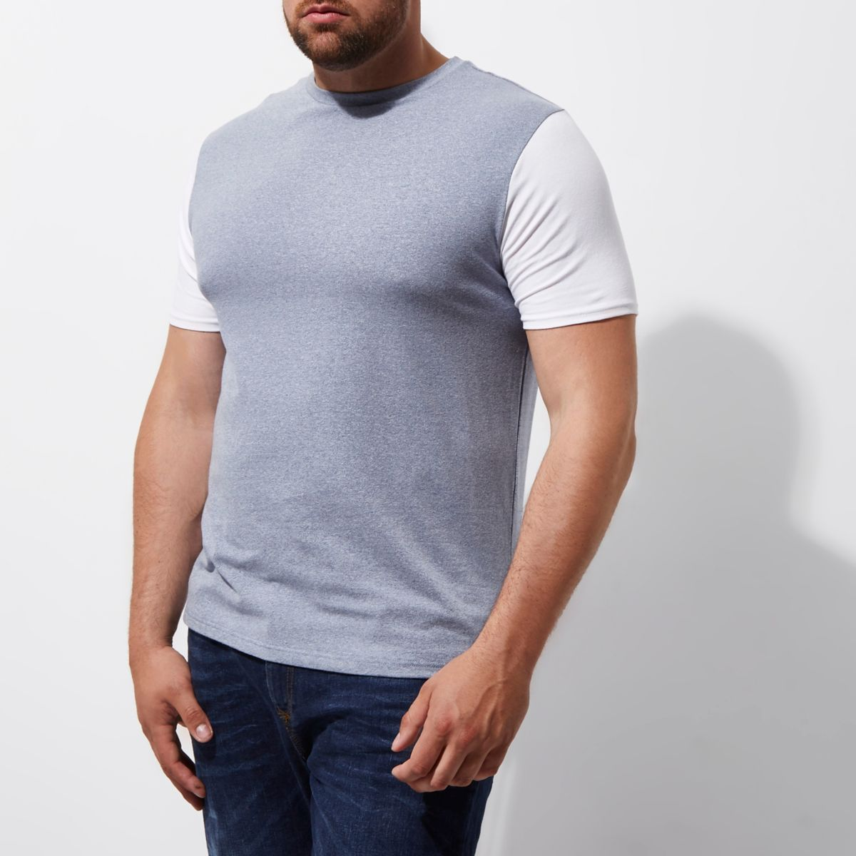 Big and Tall navy color block T-shirt