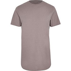 Big & Tall – Steingraues T-Shirt mit abgerundetem Saum