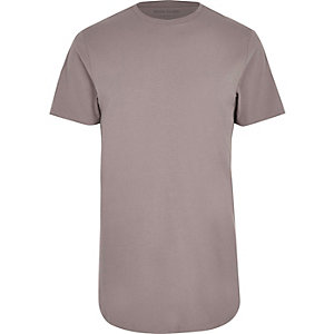 RI Big and Tall - Kiezelkleurig T-shirt met ronde zoom