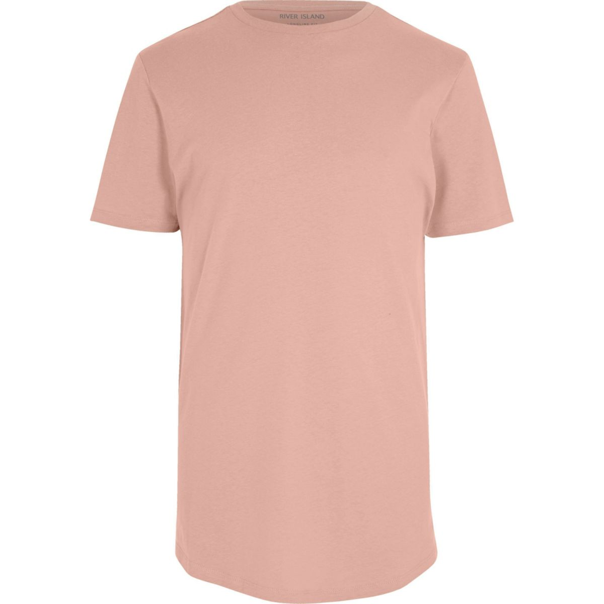 Big and Tall pink curved hem T-shirt