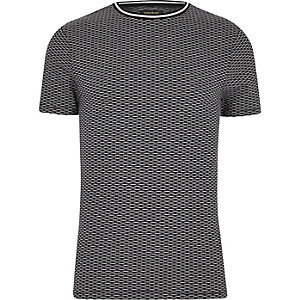 Navy tipped jacquard slim fit T-shirt