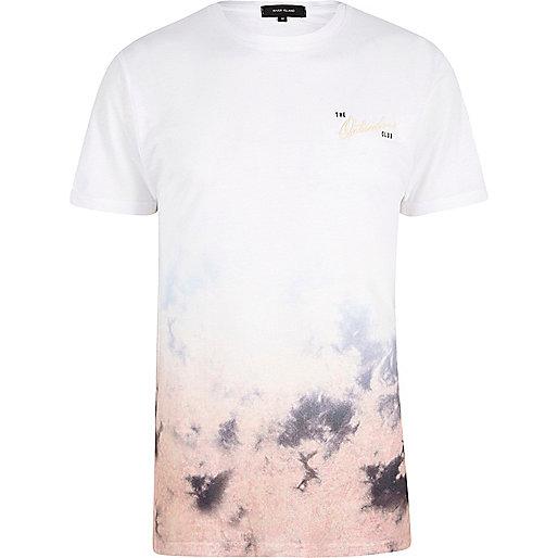 T-shirt Outsiders effet tie-dye dégradé blanc et rose