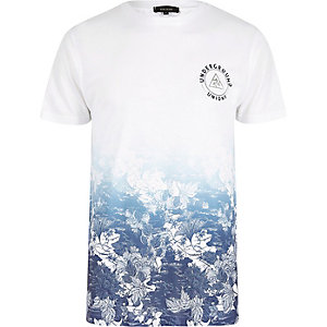 White and blue floral fade T-shirt