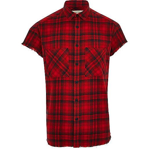 Red check short sleeve casual shirt