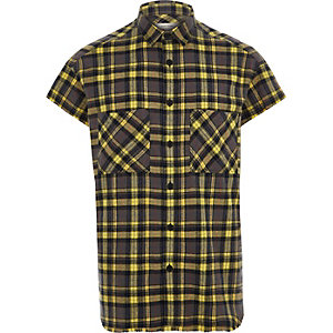 Yellow short sleeve check shirt