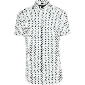 Wit aansluitend paisley overhemd met korte mouwen
