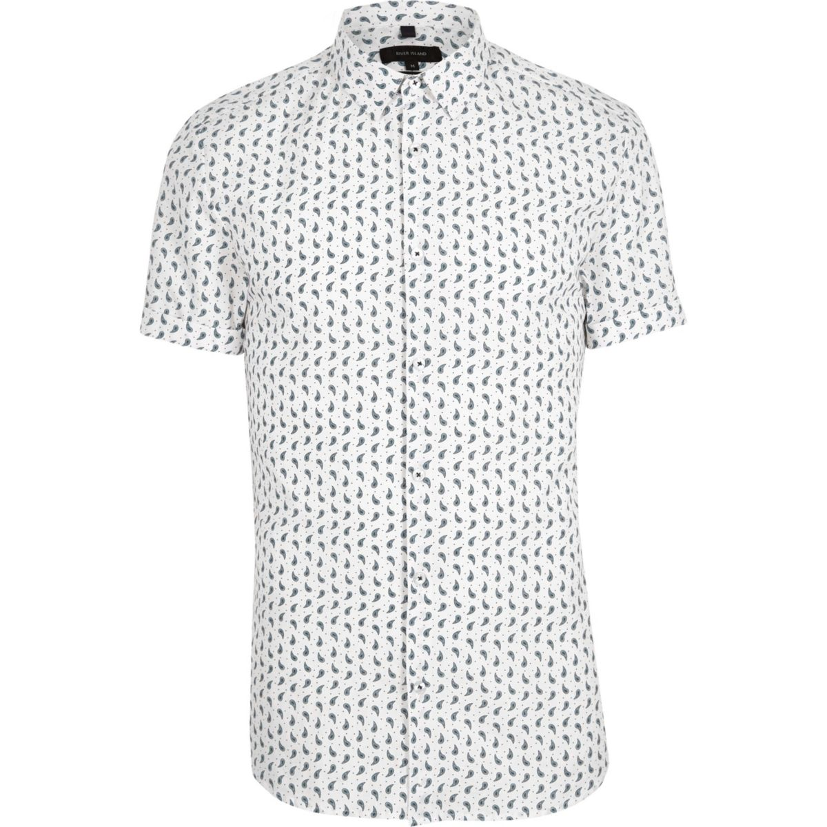 White paisley short sleeve muscle fit shirt