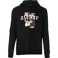Black floral spliced print long sleeve hoodie