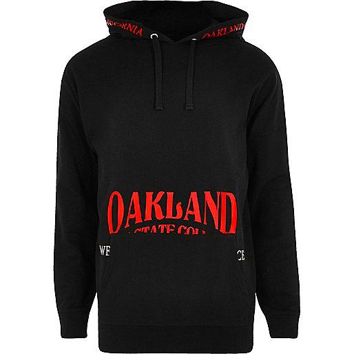 Black 'Oakland' print hoodie