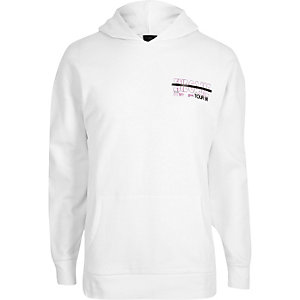 White 'End Game' print long sleeve hoodie