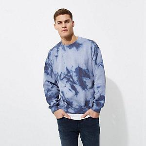 Sweat à imprimé tie-dye bleu