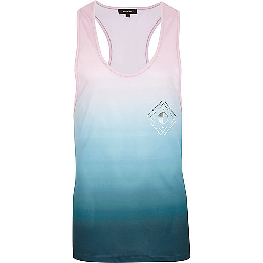 Pink and blue fade print racer back vest