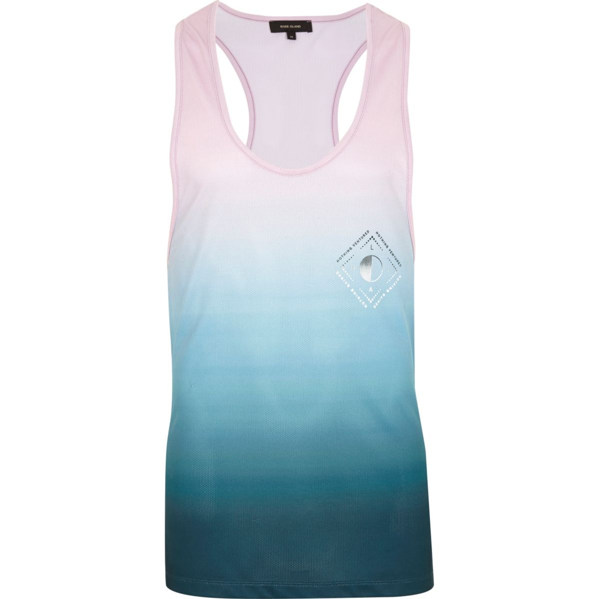 Pink and blue fade print racer back tank