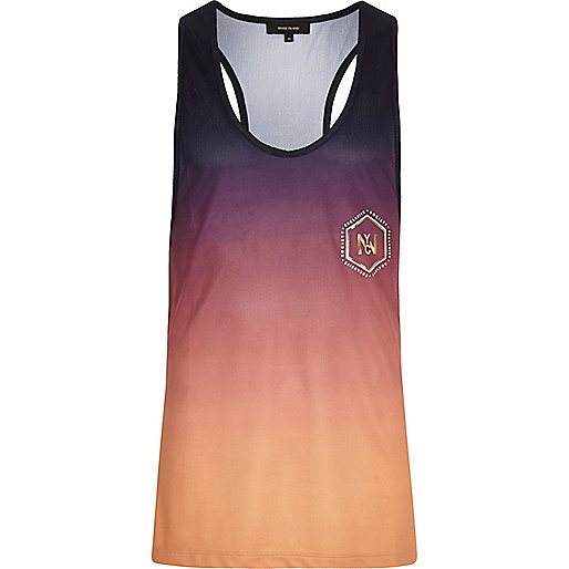 Purple and orange fade print racer back tank