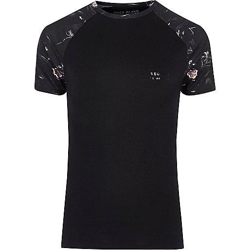 Black panther print raglan sleeve T-shirt