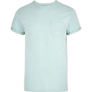 Big and Tall– T-shirt vert clair à manches retroussées