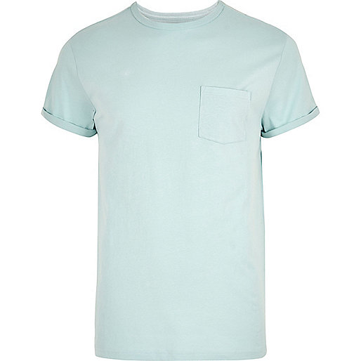 Big and Tall light green roll sleeve T-shirt