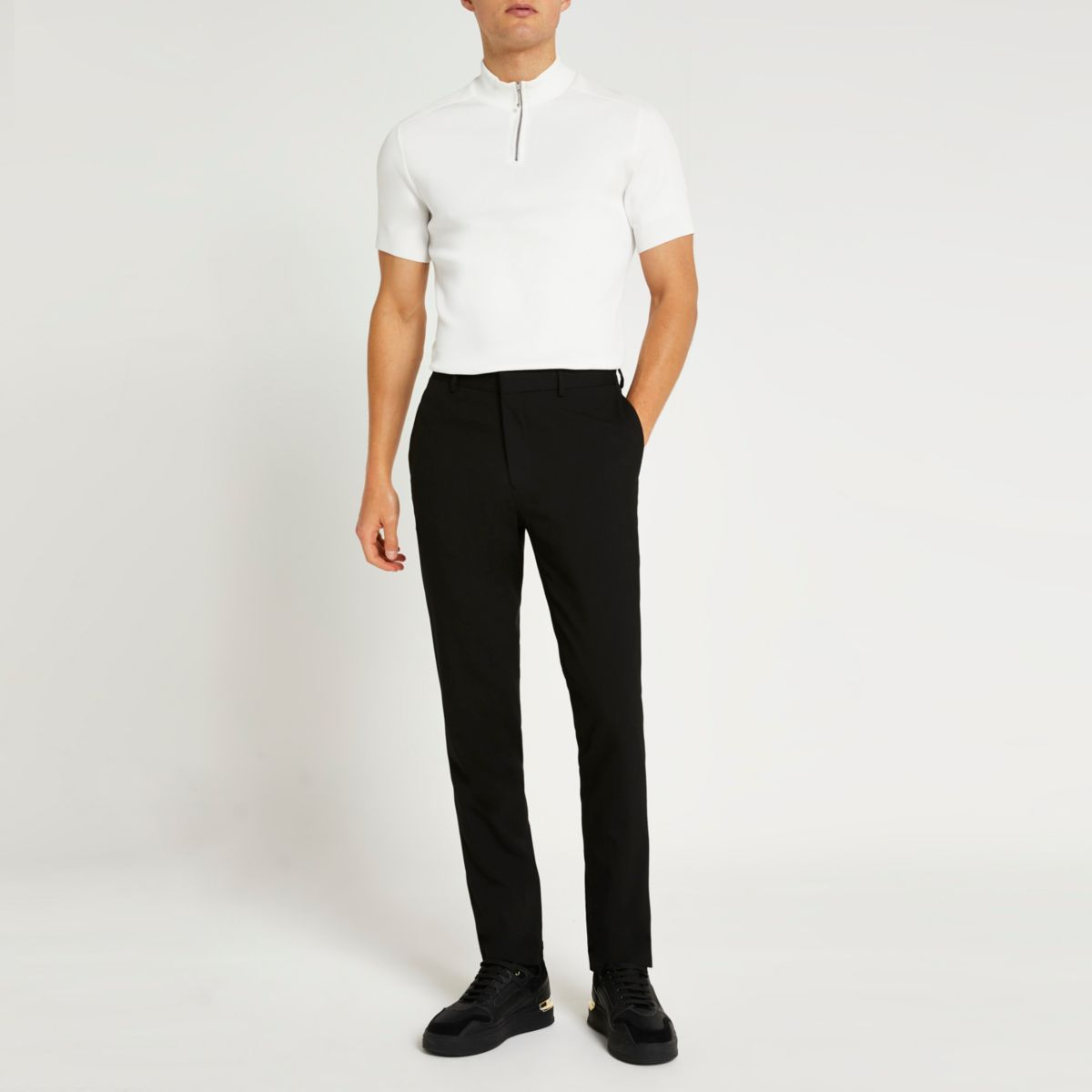 Black slim fit smart trousers - Smart Trousers - Trousers ...