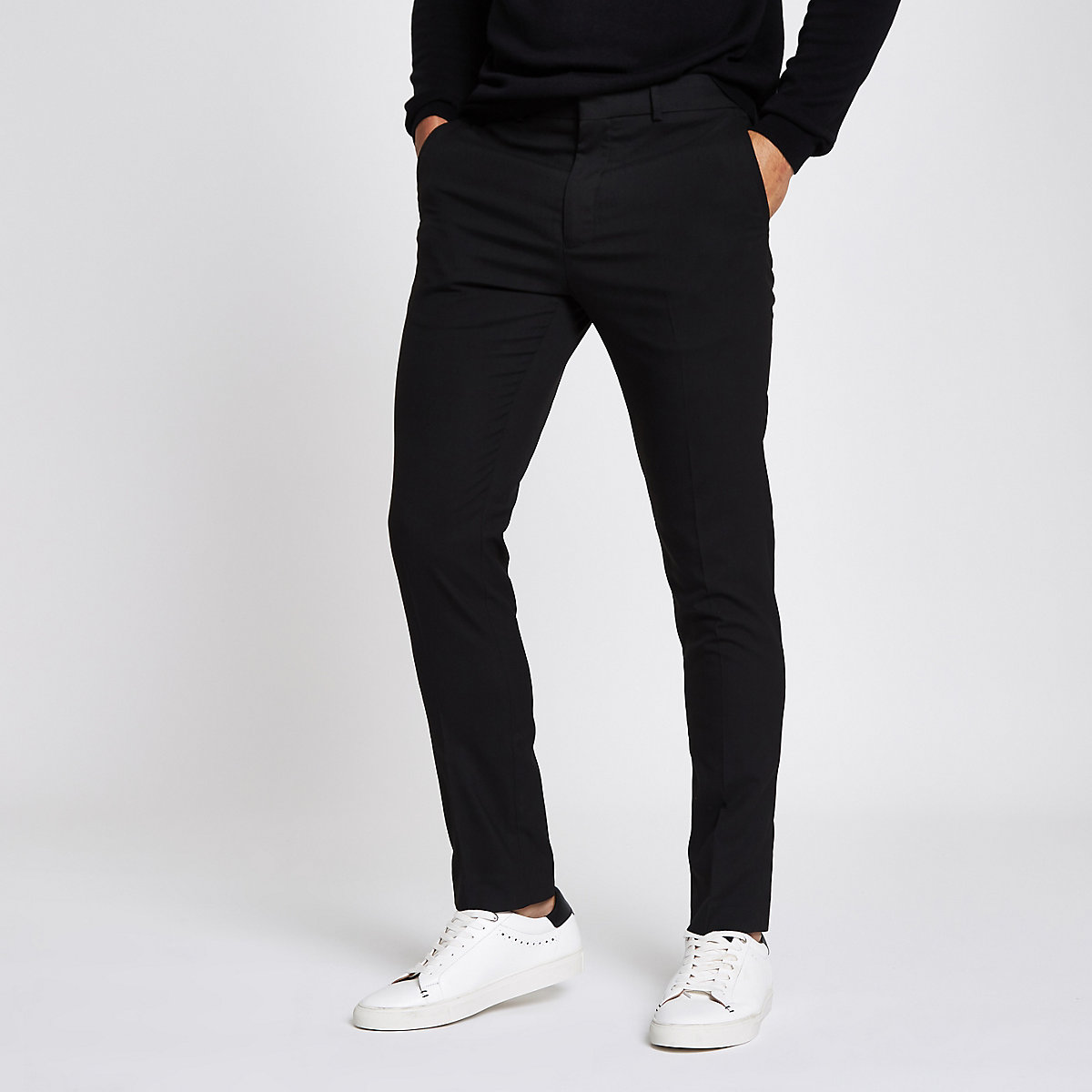 Black skinny fit smart pants