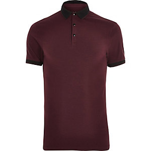 Dark red tipped muscle fit polo shirt