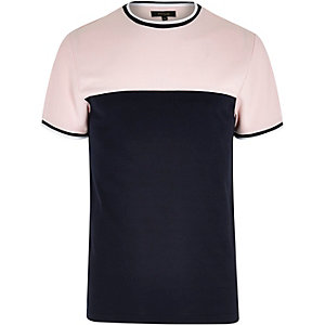 Pink colour block tipped slim fit T-shirt