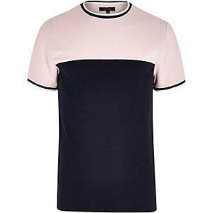 T-shirt slim colour block rose à liserés