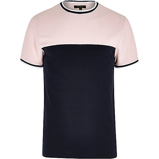 Pink color block tipped slim fit T-shirt