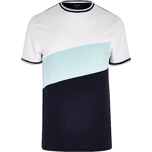 Navy colour block tipped slim fit T-shirt