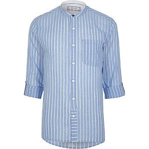 Hellblaues Grandad-Hemd mit Streifen