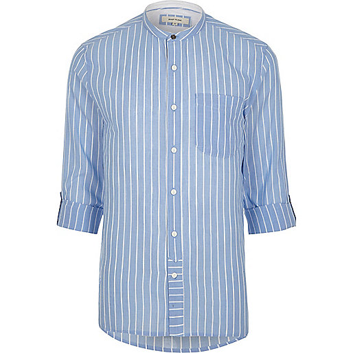 Light blue stripe grandad shirt