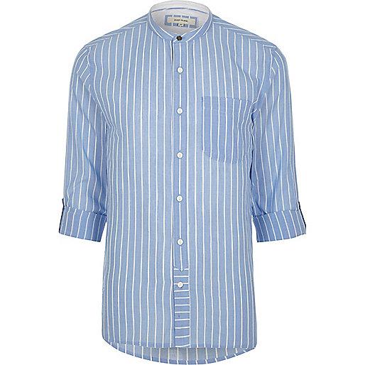 Light blue stripe grandad shirt