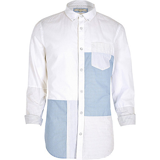White stripe panel slim fit casual shirt