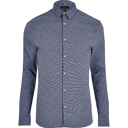Blue gingham print muscle fit smart shirt