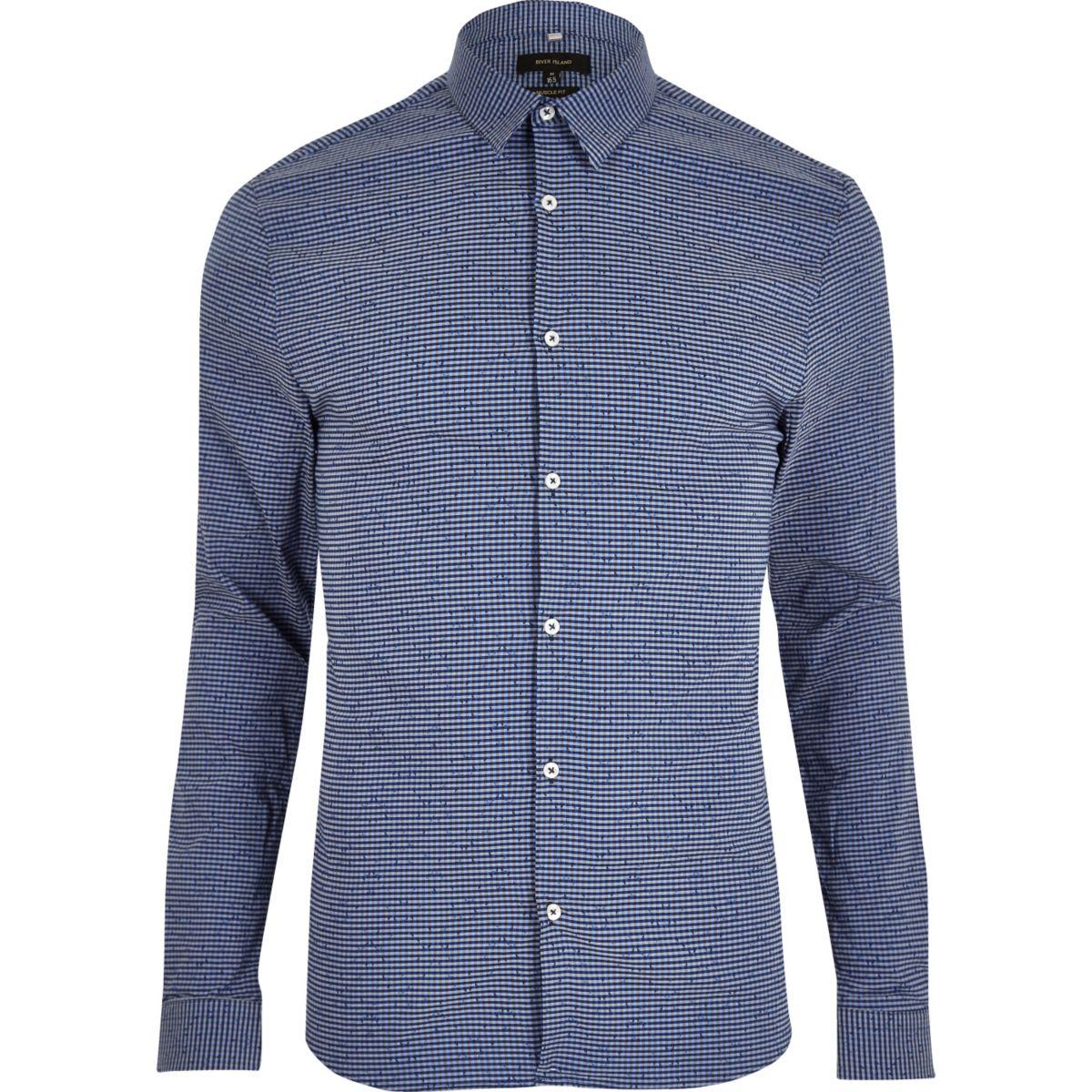 chemise ajust e imprim vichy bleue habill e chemises soldes homme. Black Bedroom Furniture Sets. Home Design Ideas